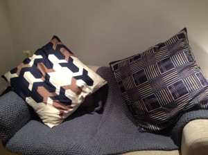 Two large silk cushions by Jacqmar (sold)
