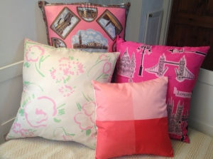 Pinks in situ: Venice, Liberty Pink and Green, Pink Squares and Shocking Pink London