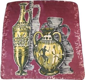 50s brushstroke print vintage scarf