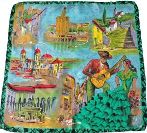 50s Spain vintage souvenir scarf