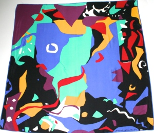 80s Abstract Zurich Assurances silk scarf