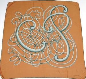 Cesare Piccini abstract vintage silk scarf