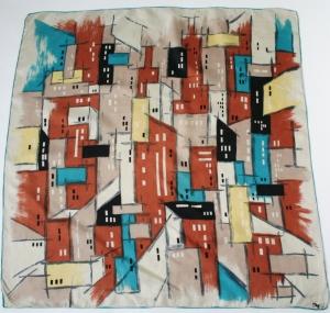 Cubist vintage scarf