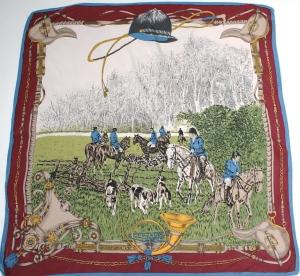 Equestrian hunting vintage silk scarf