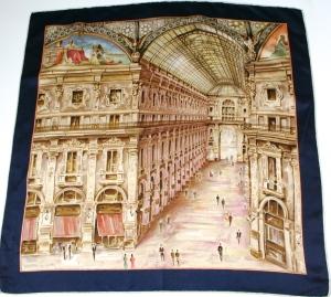 Galleria Vittorio Milan Italy vintage silk scarf