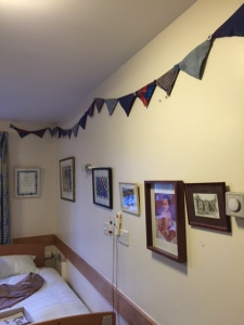 Silk Bunting from silk scarves in shades of blue (on commission)