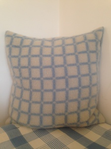 White Squares on Blue French Baby Blanket wool - a pair